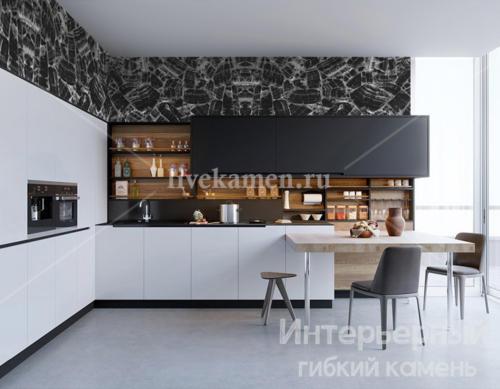 каменные обои на кухне