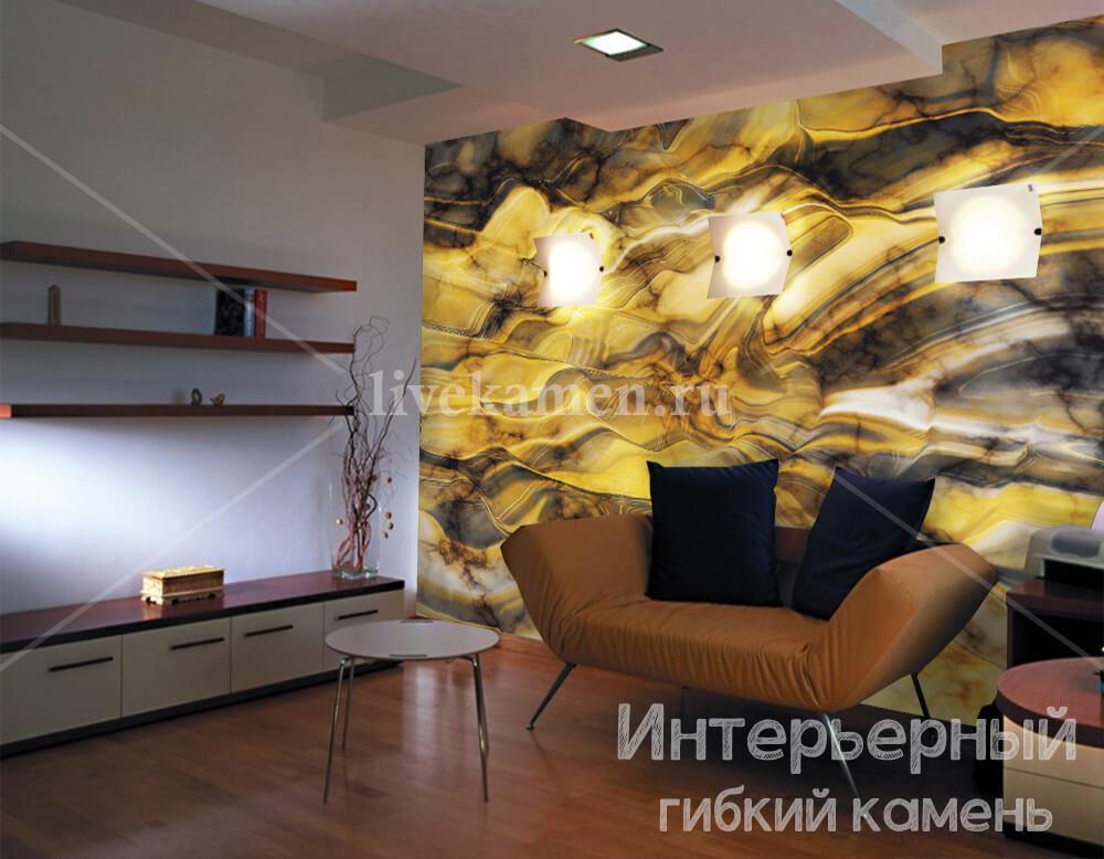 фото гибкого камня в интерьере квартиры
